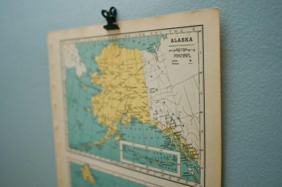 Alaska, Hawaii, Philippines 1948 Vintage Atlas Page