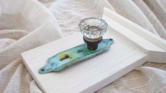 SALE Weathered Copper Vintage Crystal Door Knob