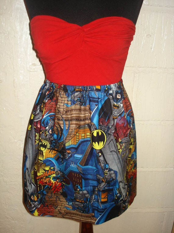 Batman Mini Skirt -  High Waisted Ladies Mini Skirt- Handmade & Ready to ship