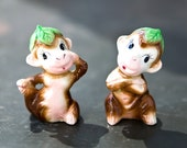 Vintage Salt and Pepper Shakers - Monkey Figurines