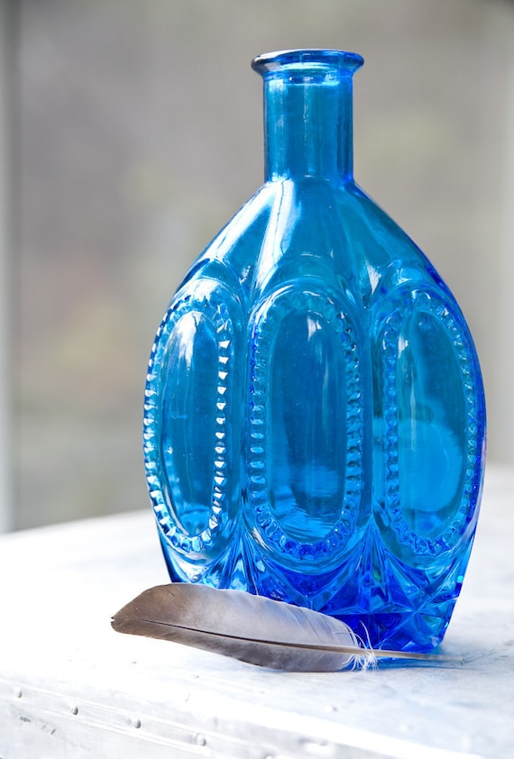 Vintage Glass Bottle Blue