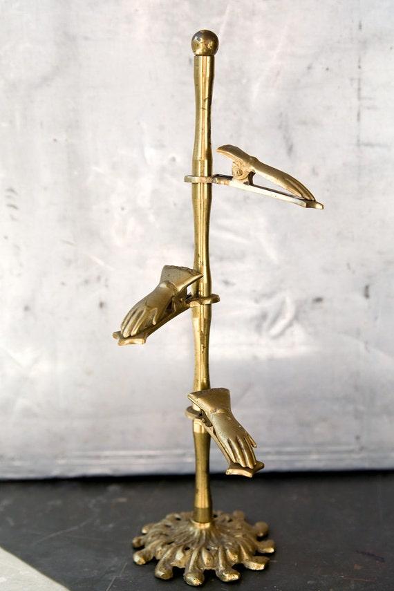Vintage Brass Hands Note Holder - Letter Clip
