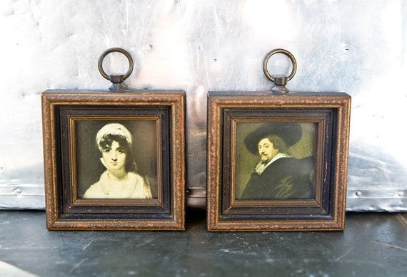 Vintage Frame - Oil Painting Mini Portrait - Rubens / Sir Thomas Lawrence Reproductions