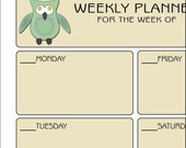 Weekly Planner Owls - Printable Owl Weekly Planner