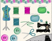 The Sewing Room Clipart and Graphic Set, Sewing Clipart, Crafting Clipart - Digital Scrapbooking Kit
