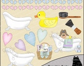 Bath Time Fun - Fun in the Tub Clipart and Graphic Set, Bathroom Clipart, Children Clipart, Bath Clipart - Digital Scrapbooking Kit