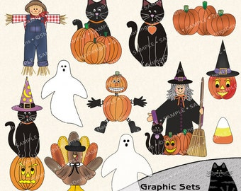 Halloween & Fall Clipart and Graphic Set, Fall Clipart, Black Cat Clipart, Thanksgiving Clipart - Digital Scrapbooking Kit