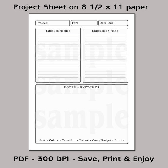 Printable Project Sheet & Planner Plain Project Planner