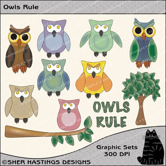 Owls Rule Clipart and Graphic Set, Owl Clipart, Bird Clipart, Wildlife Clipart - Digital Scrapbooking Kit