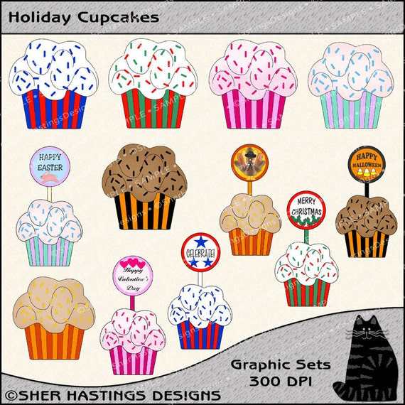 Holiday Cupcakes Clipart and Graphic Set, Holiday Clipart, Food Clipart, Baking Clipart - Digital Scrapbooking Kit