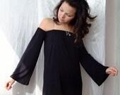 OFF The SHOULDER DRESS  Little Black Dress Strapless Dress Bell Sleeve Dress Long Bell Sleeve Cvetinka