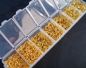 1 Box Set Gold Jump Rings Assorted Sizes 3mm - 9mm Round Open 1780 pieces