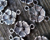 Antiqued Silver Flower Connector Charms (16)
