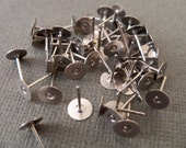 10 pairs Surgical Stainless Steel Earring Posts with 6mm flat pads