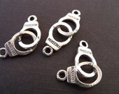 Antiqued Silver Handcuff Charms, 5 pcs