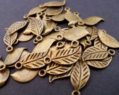 Antiqued Bronze Leaf Charms, 17mm, 40 pcs
