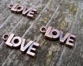 Antiqued Copper Love Charms, 6 pcs