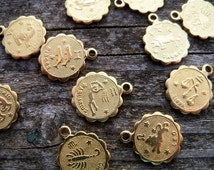12 Brass Zodiac Charms 10mm Full Set of 1 each of 12 Zodiac Symbols