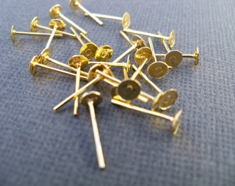 100 pairs Gold Plated Earring Studs with 4 mm Flat Pad NIckel Free