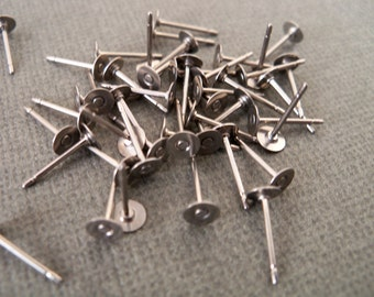 10 pairs Surgical Stainless Steel Earring Posts with 4mm Flat Pads