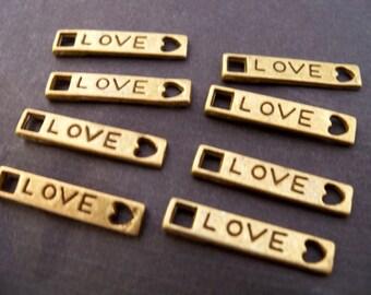 16 Antiqued Bronze Love Connectors 21mm