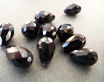 12 Black Crystal Teardrop Beads 11mm Top to Bottom Hole