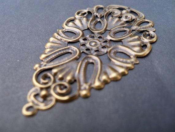 Antiqued Bronze Flower Drop Charms, Filigree (10)