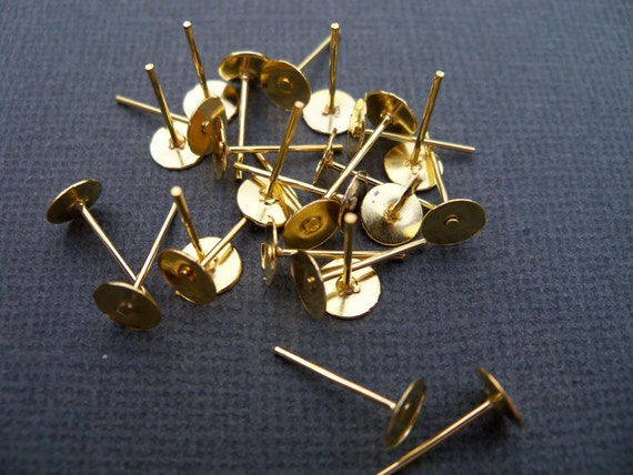 50 pairs Gold Earrings with 6mm Flat Pads Nickel Free