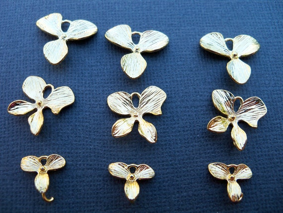 Orchid Connector Charms, Gold Plated Over Solid Copper, Graduated Charms  Two Sets of Three