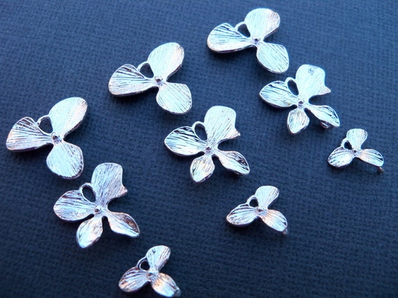 Orchid Charms, Silver Plated Over Solid Copper  Three Sets of Three