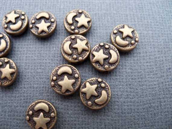 Bronze Star and Moon Beads, Antiqued Bronze Beads, 9mm 25pcs