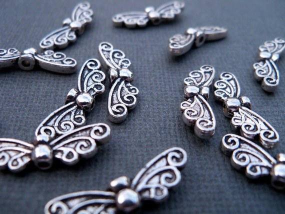 Antiqued Silver, Butterfly Wing Spacer Beads (10)