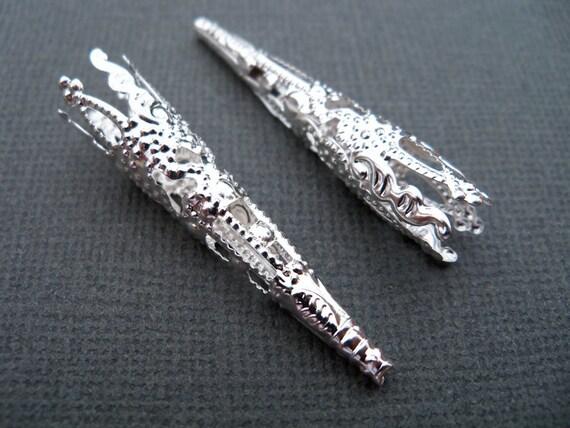 Silver Plated Filigree Bead Cap 40mm (8 pcs)