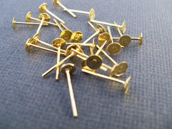 Flat Pad Earring Studs, Gold Posts, 4 mm, 100 prs