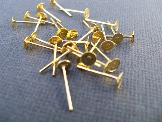 200 pairs Gold Plated Earring Studs with 4mm Flat Pad Nickel Free