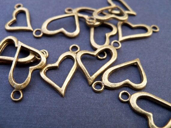 Bronze Heart Charms, Antiqued Bronze, 20mm, 10 pcs