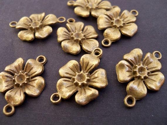 Antiqued Bronze Flower Connectors 6 pcs