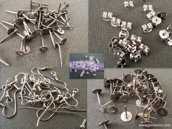 Surgical Steel Earring Multi Pack, Flat Back Posts, French Hooks and Backs