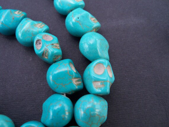 Turquoise Howlite Sugar Skull Beads 10 pcs