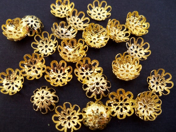 Gold Plated, Filigree Bead Caps, 50 pcs
