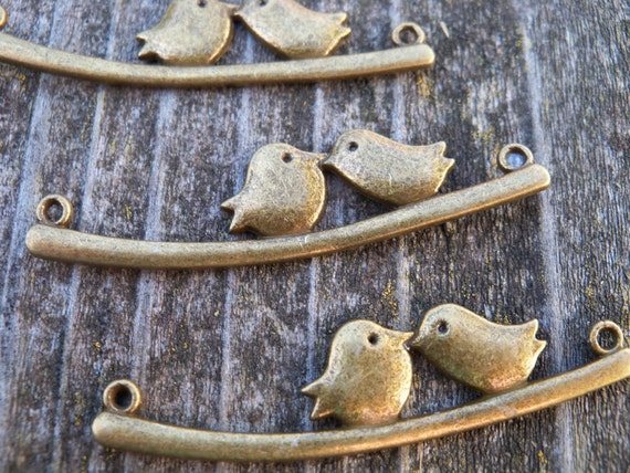Antiqued Bronze, Love Birds on Branch Connector Charms, 5 pcs