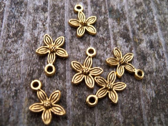 Antiqued Gold Plum Blossom Flower Charms, 8 pcs