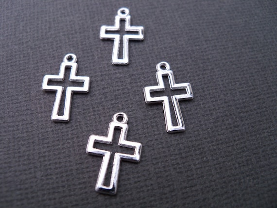 Small Silver Plated Cross Charms, Lead Free, 17 mm, 40 pcs