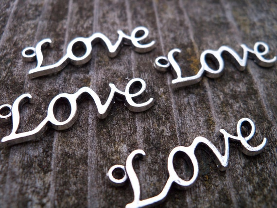 Silver Love Charm, 30 mm, lead free, 12 pcs
