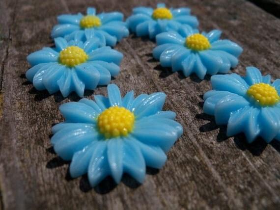 Baby Blue Sunflower Cabochon, Resin, 27mm 6 pcs