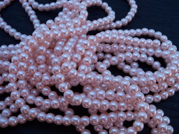 Pink Glass Pearls, 6mm, 15 inch strand