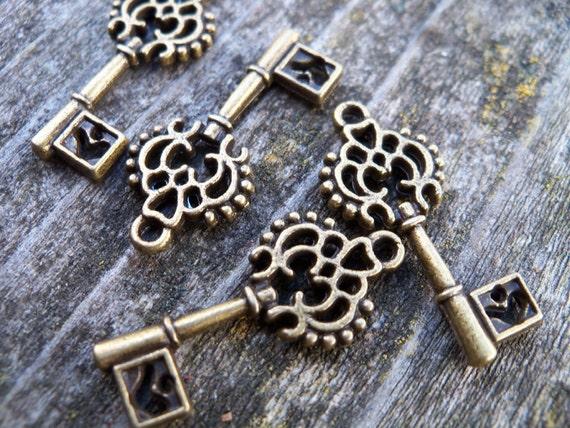 Antiqued Bronze Skeleton Key Charms, Filigree and Heart, 12 pcs