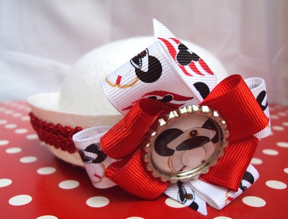 Mini Sailor Hat For Your Disney Cruise In White With Red Trim, Bow And Mouse Ears Charm