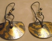 24 K Gold Leaf and Sterling Silver Dangling  Earrings