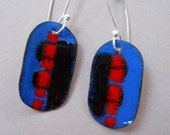 Sterling Silver and Copper Enamel Earrings